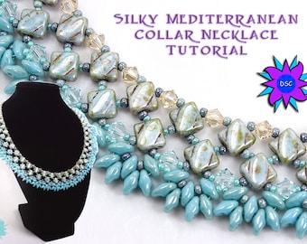 Silky Diamond Collar Necklace Tutorial, Two Hole Diamonds and SuperDuo Pattern, PDF Beadweaving Instructions,