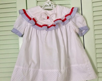 Vintage baby dress, ruffles polka dots, red white blue 18 months
