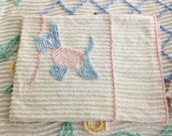 Chenille crib spread, baby bed spread, scotty scottie dogs, pink and blue , baby gift