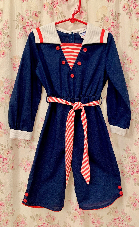 Bonnie Jean Boys Nautical Sailor Outfit Coveralls Navy White