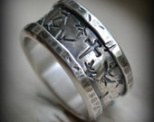 mens wedding band, rustic fine silver and sterling silver crown of thorns ring, handmade wide band ring, manly ring - custom ring