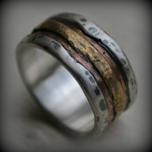 rustic fine silver and copper or 14K Rose gold ring handmade oxidized artisan designed wedding band customized mens wedding band