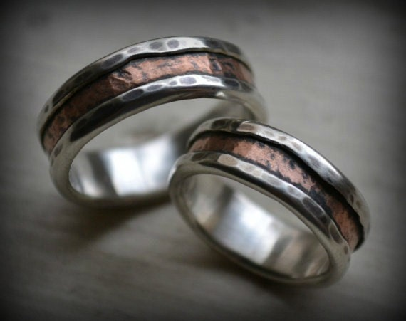 Rustic Silver And Copper Wedding Ring Set Handmade Fine Etsy