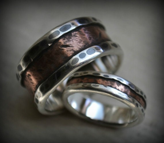 Rustic Wedding Ring Set Fine Silver And Copper Handcrafted Etsy