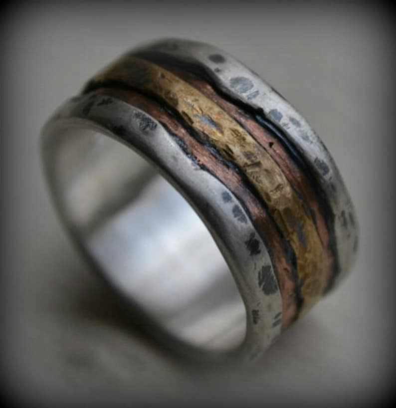 mens wedding band  rustic fine silver copper and brass or 14K image 0