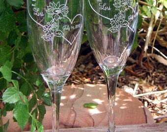 Sunflower Hearts Toasting Wedding Champagne Glass Flutes (Pair) - Engraved & personalized