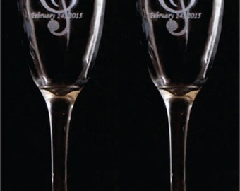 Music Clef Note Toasting Flutes -  SET of 2 - Personalized - Engraved