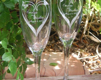 Butterfly - Bloomin Heart Toasting Wedding Champagne Glass Flutes (Pair) - Engraved & personalized