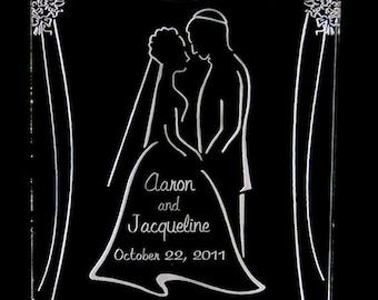Jewish Wedding Couple Cake Topper - Engraved & Personalized - Light OPTION