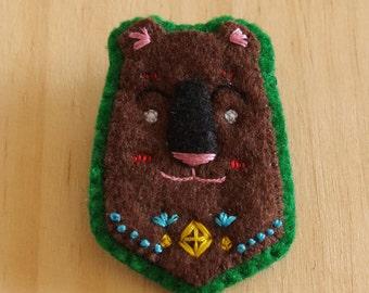 SALE Karhu Bear Hand Embroidered Folk cute Felt Brooch Pin