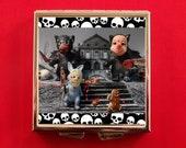 Pill Box Square Psycho Killer Bunny Rabbit Bear Run Gingerbread Man Bizarre Retro Tongue N Cheek Animal