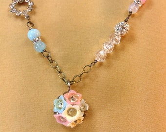 Romantic Vintage Rhinestone Pink And Blue Floral Necklace
