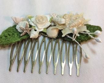 Beach Wedding Hair Accessory, Shabby Chic Bridal Hair Comb, Sea Glass