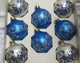 Vintage Blue and White Christmas Ornaments decorated with sparkling Glitter Boxed set of 8  by Pyramid