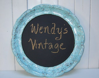 Beautiful Round Chalkboard - Aqua and Silver Tray Sign