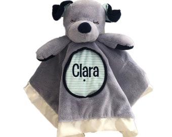 personalized puppy Lil' snuggler, dog blankie, dog with name, dog blanket, dog security blanket, personalized gift, baby shower gift
