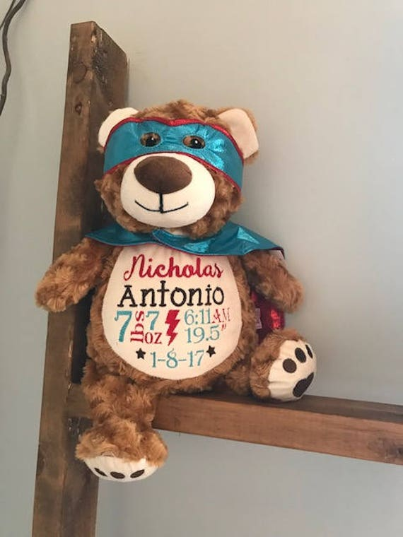 Personalized Birth Announcement Stuffed Animal Embroidered Etsy
