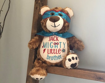 Personalized stuffed animal, little Brother animal Design,little brother  gift, best little brother  gift, embroidered little brother gift