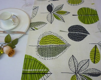 "120"" Long Table Runner 10 Foot Lime Green Retro Funky Floral Modern Cotton Dining Home Decor"