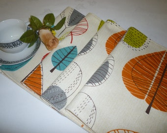 4/6 Fabric Place Mats Orange Cinnamon Teal Blue Green Funky Fabric Dinner Mats mix and match home decor washable 6 Colour choices