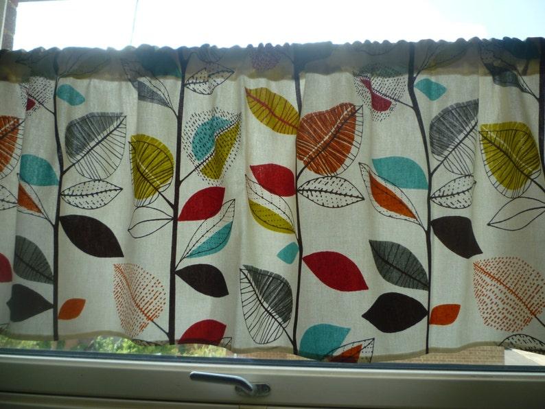 30 Orange Curtain Valance Cafe Curtain Valance Funky Floral Kitchen Sink Skirt Bathroom Panel Rod Pocket 54 X 30 100 Cotton