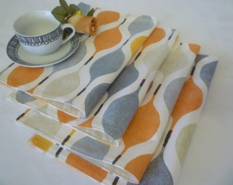4/6 Funky Placemats Geometric Orange Gray Cotton or Red/Purple or Grey/Taupe, Cloth Pre-Shrunk Backs Machine washable