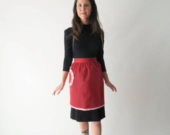 1950s 1960s Red Sheer Apron / Vintage Kitschy Holiday Apron