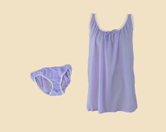 DEADSTOCK 1960s Purple Checkered Babydoll Set   Vintage Nylon Nightie w  Matching Panties 2d0cdcd78