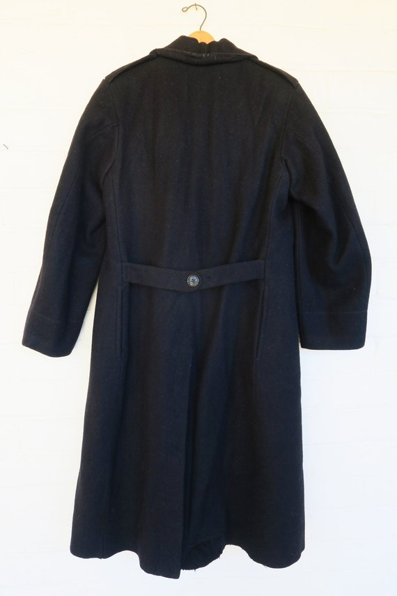 WWI Black Wool Military Greatcoat / 1910s Antique… - image 6