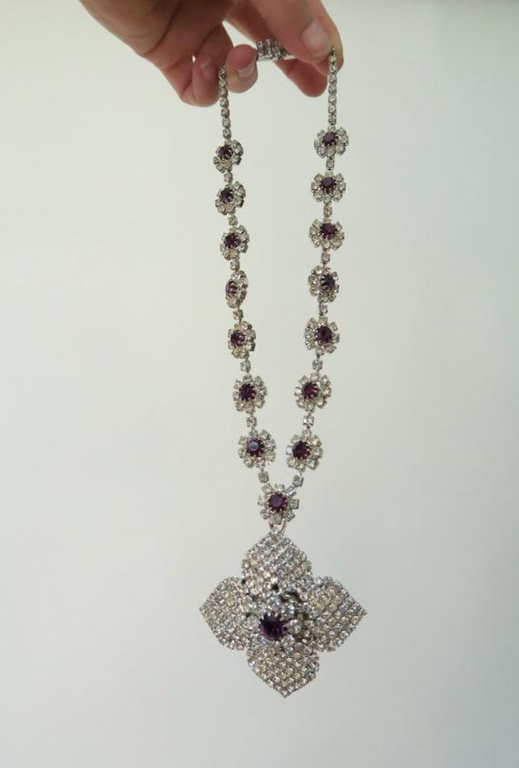 HOBÉ 1950s Rhinestone Necklace / Vintage Rhinesto… - image 2