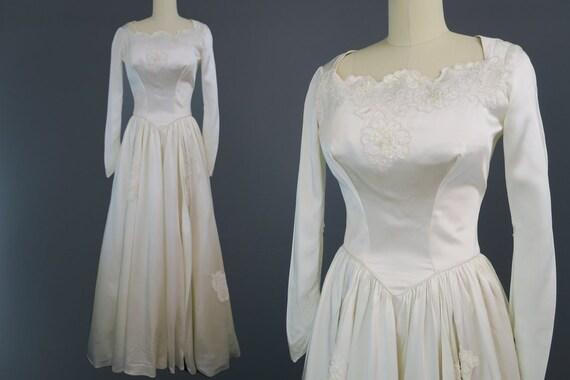 1940s Bustled Satin Wedding Dress