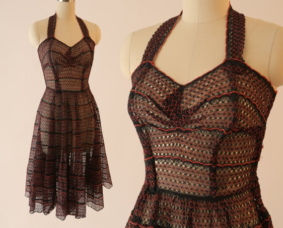 1950s Netted Halter Dress / Vintage Halloween Dres