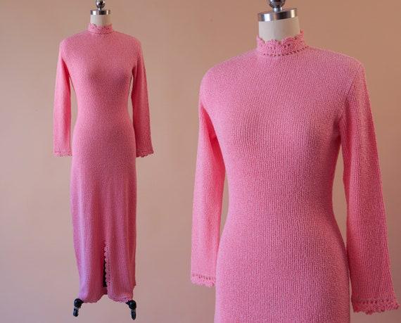 1960s Pink Knit Maxi Dress