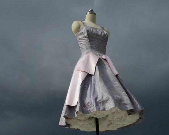 1950s Steel Blue Party Dress / Mad Men Formal
