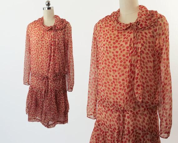Authentic 1920s Silk Chiffon Dress / Tissue Silk 2