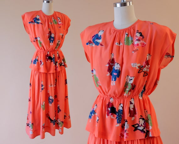 1940s Chinese Novelty Print Silk Dress