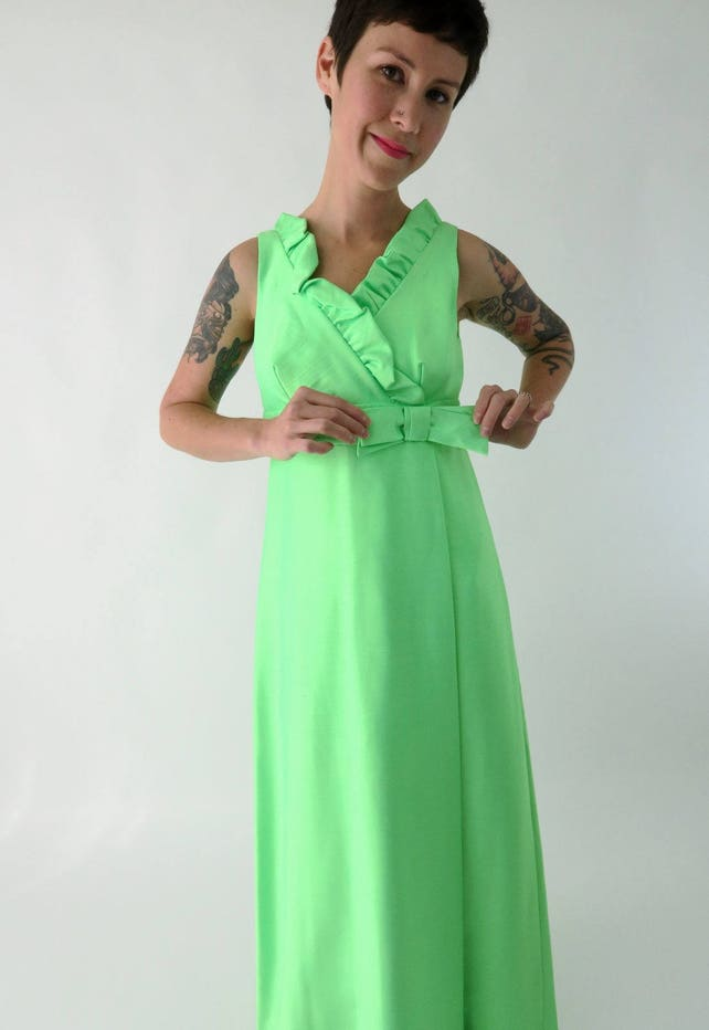 1960s Lime Green Formal Dress Vintage 60s Empire Waist Prom Etsy