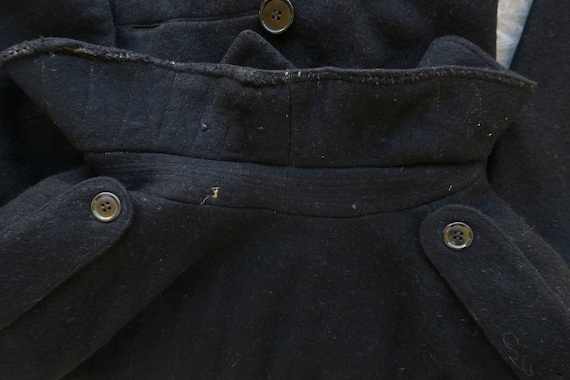 WWI Black Wool Military Greatcoat / 1910s Antique… - image 7