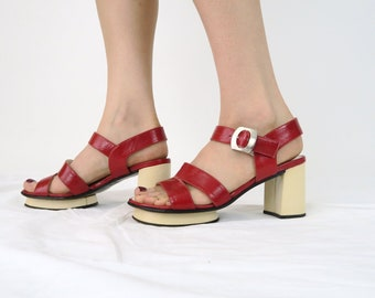 Size 6.5 / 1960s Mod Red Sandals / Vintage Leather 60s Shoes