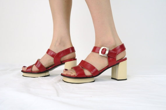 1960s Sandals 5 6 Mod Shoes Leather Red 60s Vintage Size tsQdxhrC