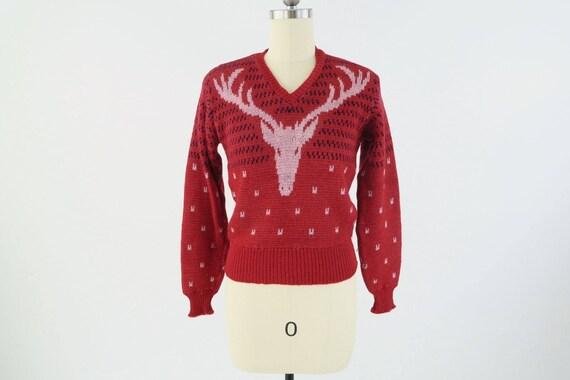 JANTZEN 1940s Jacquard maglia renna   Vintage maglione di  e7a4ebc0e2a