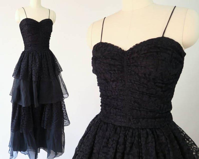 FRED PERLBERG 1950s Black Lace Gown  Vintage Designer Formal Dress