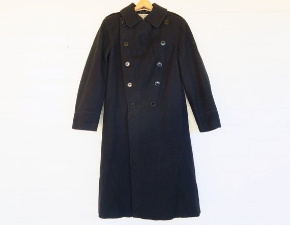 WWI Black Wool Military Greatcoat / 1910s Antique… - image 2