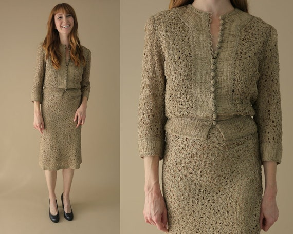 1940s Beige Ribbon Dress / Vintage Soutache Outfit