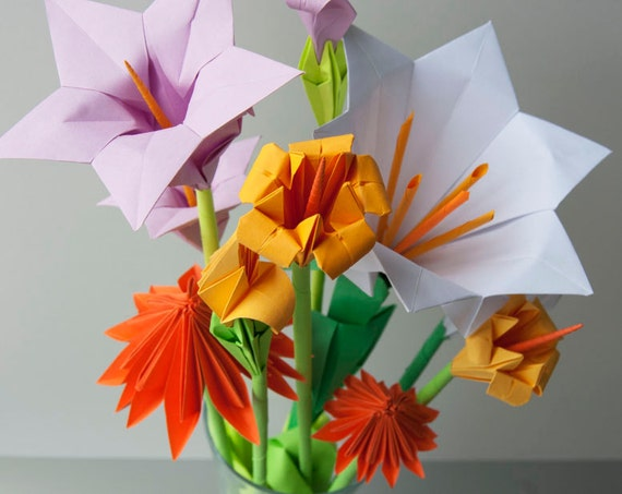 Assorted Origami Flower Bouquet Lavender Yellow Orange Etsy