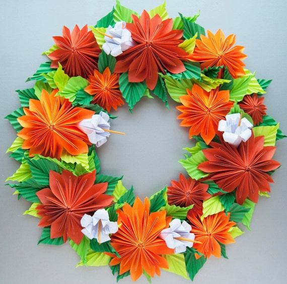 Orange Dahlia Origami Paper Wreath Thanksgiving Fall Wreath Etsy