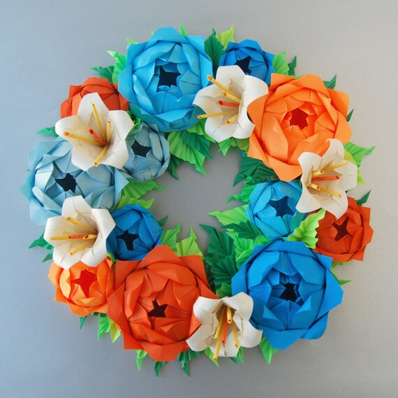 Blue Orange Rose Origami Paper Wreath With Cream Lilies Etsy