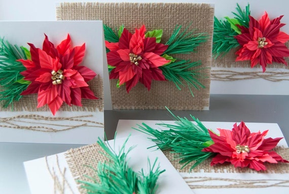 Poinsettia Christmas Origami Greeting Cards Set Of 5 Etsy