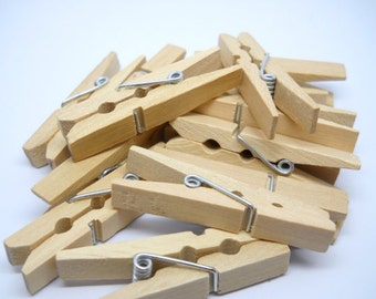MINI NATURAL Clothespins - 1 3/4 inches - Qty 24 - Wood Clothespin - Natural wood Clothespin - Garland Banner