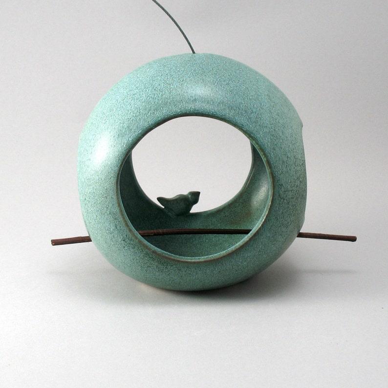 Ceramic Bird Feeder Pottery Bird Feeder Bird Pottery image 0